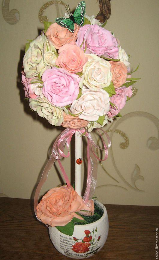 """Топиарии ручной работы. Ярмарка Мастеров - ручная работа. Купить Топиарий """" Розовые мечты"""", дерево счастья.. Handmade. Розовый"""