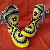 Обувь ручной работы. Ярмарка Мастеров - ручная работа сапожки-тапочки крючком. Handmade.