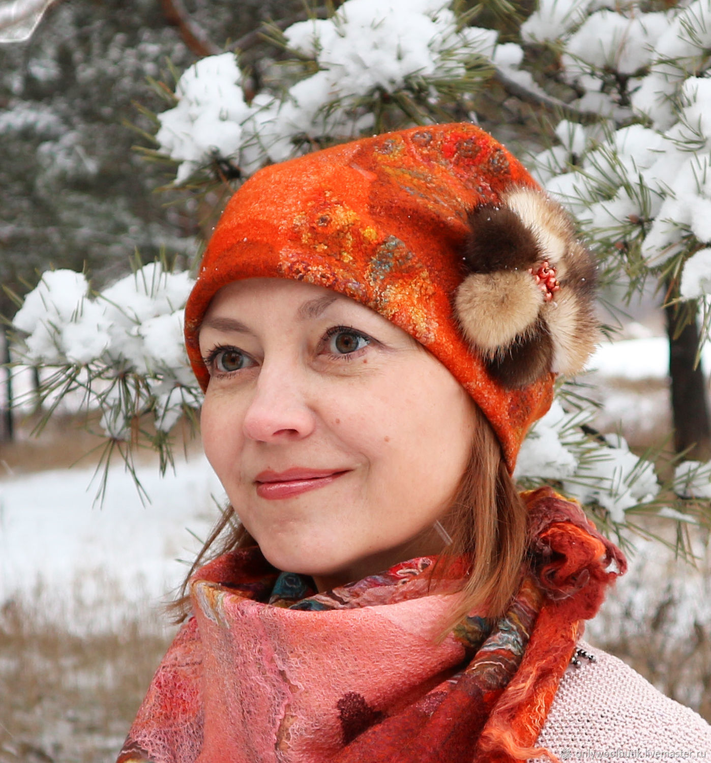 Order felted wool hat beanie terracotta. ONLY WOOL boutique. Livemaster. f0d985e1e64