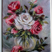 Картины и панно handmade. Livemaster - original item The picture is made of wool still life with roses. Handmade.
