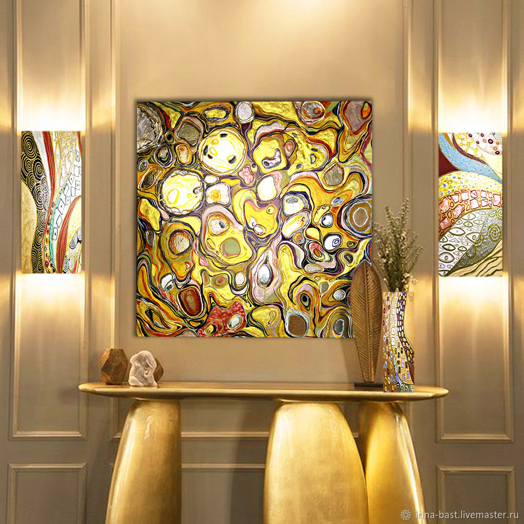 Gold painting abstract with gold enamel Liquid gold, Pictures, St. Petersburg,  Фото №1