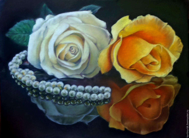 Картины цветов ручной работы. Ярмарка Мастеров - ручная работа. Купить Королевские розы. Handmade. Ожерелье, пастель, пастель