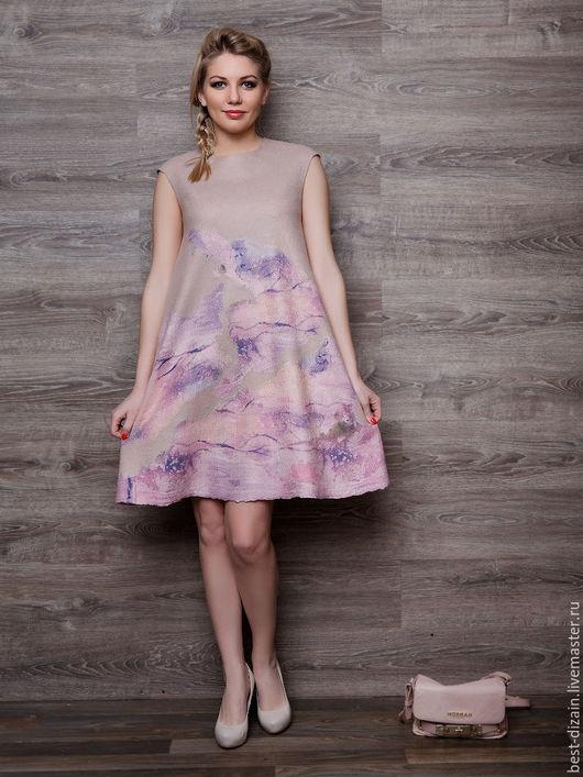 """Платья ручной работы. Ярмарка Мастеров - ручная работа. Купить Валяное платье """"Парижанка"""". Handmade. Кремовый, платье на каждый день"""