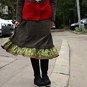 """Одежда ручной работы. Ярмарка Мастеров - ручная работа Вельветовая юбочка """"зеленая"""". Handmade."""