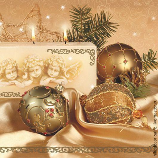 Декупаж и роспись ручной работы. Ярмарка Мастеров - ручная работа. Купить Новогодние шары золот. (SLGW005802) 33х33 салфетка для декупажа. Handmade.