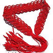 """Аксессуары ручной работы. Ярмарка Мастеров - ручная работа Пояс """"Сердце к сердцу"""" красный с кистями, макраме. Handmade."""