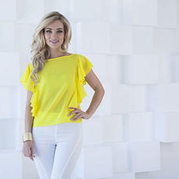 Одежда ручной работы. Ярмарка Мастеров - ручная работа Блузка летняя, блузка желтая с воланами. Handmade.