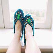 """Обувь ручной работы. Ярмарка Мастеров - ручная работа Вязаные следки """"Изумрудные сокровища"""". Handmade."""