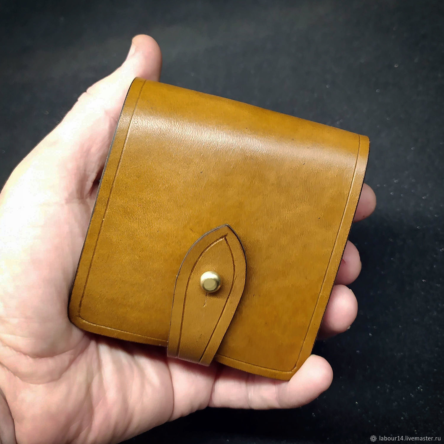 Leather pouch for rifled cartridge, mod. Eco 5 Yellow, Gifts for hunters and fishers, Sevsk,  Фото №1