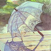 """Картины и панно ручной работы. Ярмарка Мастеров - ручная работа этюд акварельный""""Зонтик"""". Handmade."""