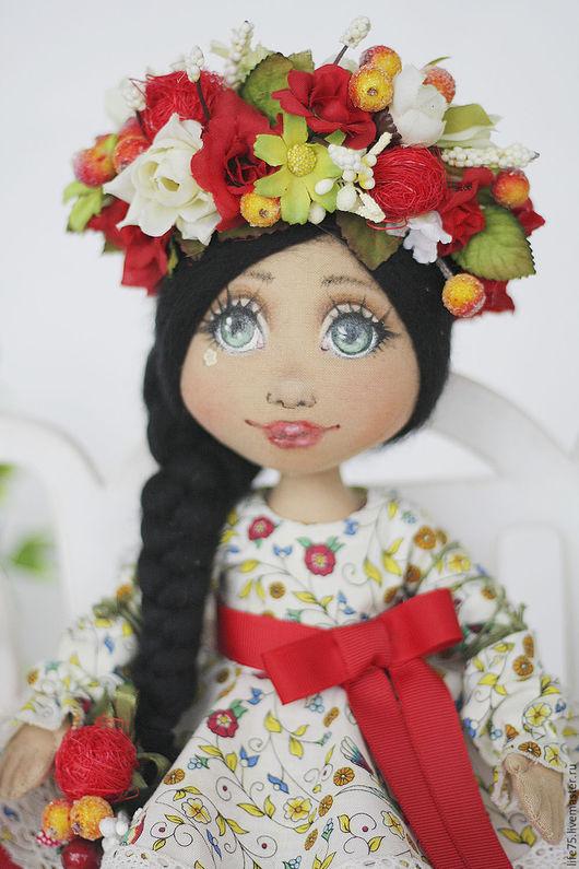 Коллекционные куклы ручной работы. Ярмарка Мастеров - ручная работа. Купить Ягодка моя. Handmade. Ярко-красный, венок с цветами