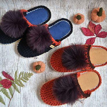 """Обувь ручной работы. Ярмарка Мастеров - ручная работа Тапочки домашние """"Теплая осень"""" с меховым помпоном. Handmade."""