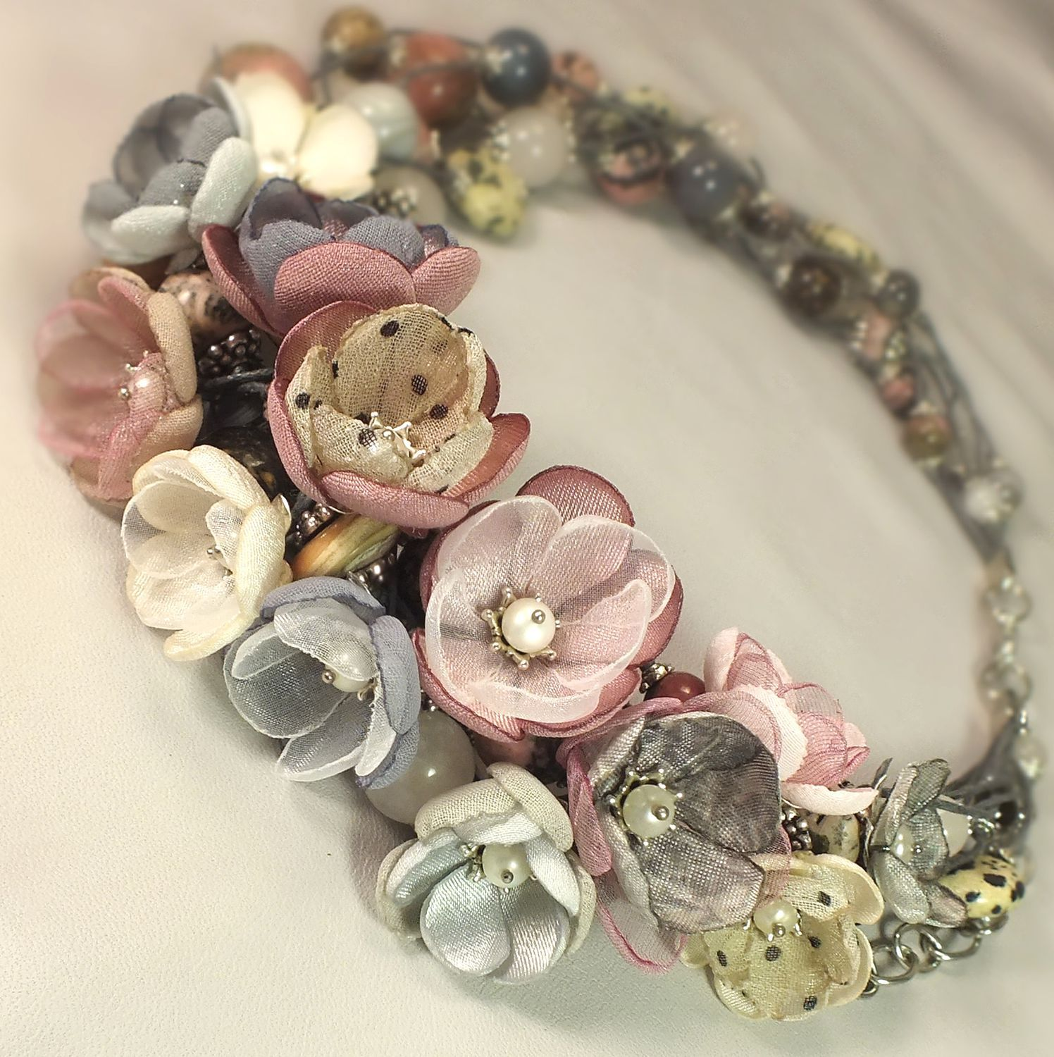 Smoky - Rose Garden. Necklace and removable flower decor, Necklace, St. Petersburg,  Фото №1