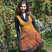 Одежда ручной работы. Ярмарка Мастеров - ручная работа Сарафан валяный Рябиновый цвет. Handmade.