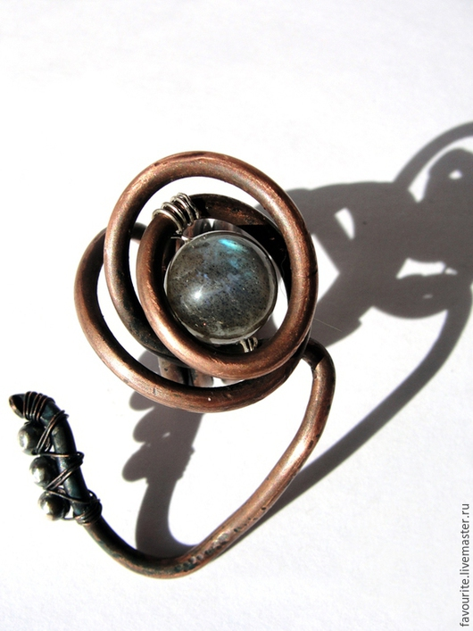 """Кольца ручной работы. Ярмарка Мастеров - ручная работа. Купить Кольцо медное с лабрадором """"Charm time"""" - Очарование времени. Handmade."""
