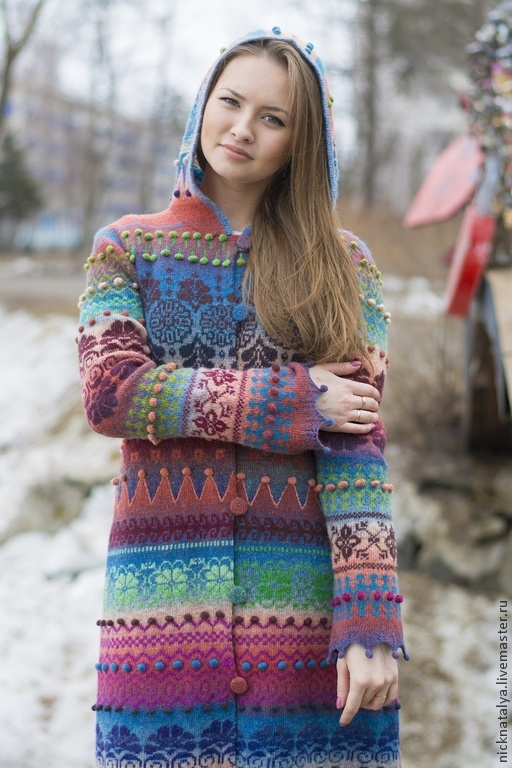 """Верхняя одежда ручной работы. Ярмарка Мастеров - ручная работа. Купить Пальто вязаное """"Краски. Апрель"""". Handmade. Вязаное пальто"""