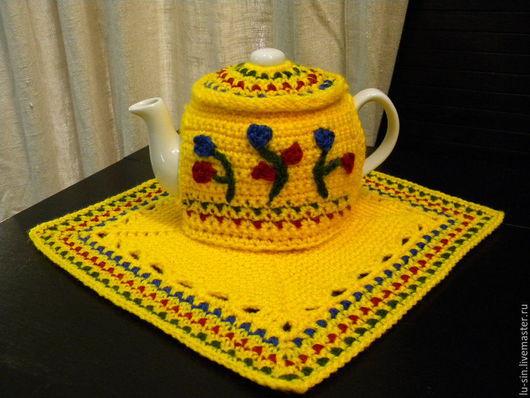 """Кухня ручной работы. Ярмарка Мастеров - ручная работа. Купить Грелка с чайником и салфеткой """"Африкансие мотивы"""". Handmade. Желтый, уют"""