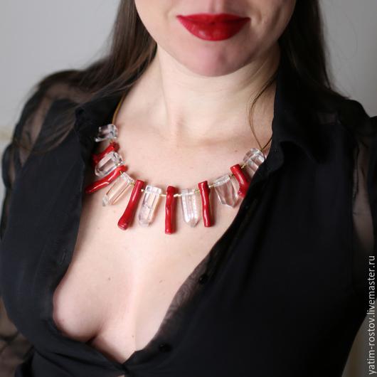 Колье, бусы ручной работы. Ярмарка Мастеров - ручная работа. Купить Ожерелье AURA. Handmade. Ярко-красный, Ожерелье из камней