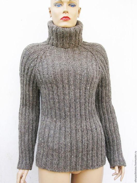 Кофты и свитера ручной работы. Ярмарка Мастеров - ручная работа. Купить Вязаный свитер-водолазка 100% шерсть. Handmade. Серый