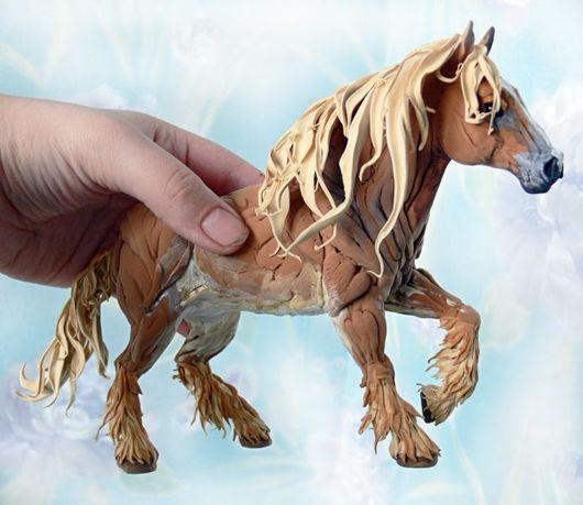"""Игрушки животные, ручной работы. Ярмарка Мастеров - ручная работа. Купить фигурка """"Кофейный тяжеловоз (лошадь)"""". Handmade. Першерон, лошади"""