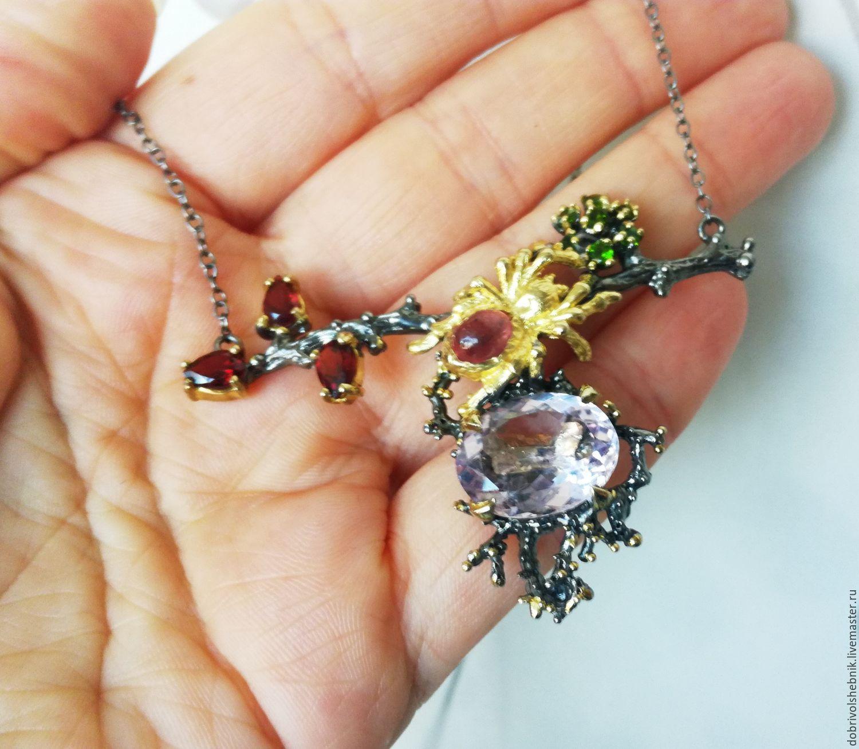 Mini necklace with pink amethyst and garnets, Necklace, Novaya Usman,  Фото №1
