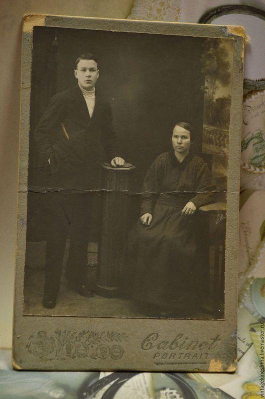 Винтажные предметы интерьера. Ярмарка Мастеров - ручная работа. Купить Кабинетный портрет Мать и сын. Handmade. Чёрно-белый, мать