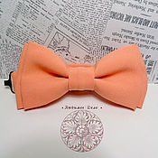 Аксессуары handmade. Livemaster - original item Bow tie Peach/ solid color tie /classic peach. Handmade.