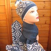 Аксессуары ручной работы. Ярмарка Мастеров - ручная работа Комплект: шапка, шарф и варежки. Handmade.