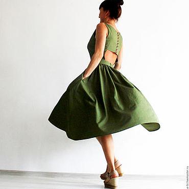 """Одежда ручной работы. Ярмарка Мастеров - ручная работа Зеленое платье миди с открытой спиной """"Элен"""". Handmade."""