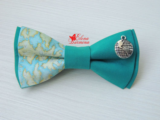 Галстуки, бабочки ручной работы. Ярмарка Мастеров - ручная работа. Купить Бабочка галстук с картой и глобусом, хлопок. Handmade.