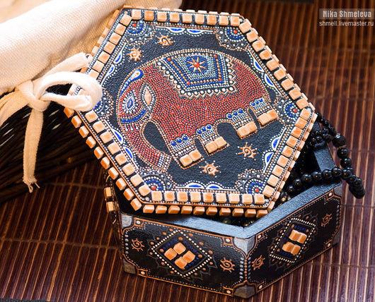 Шкатулки ручной работы. Ярмарка Мастеров - ручная работа. Купить Индийская шкатулка. Handmade. Шкатулка, индийский слон, шкатулка деревянная