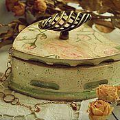 """Для дома и интерьера ручной работы. Ярмарка Мастеров - ручная работа Шкатулка-утюг """"Розовый букет"""". Handmade."""