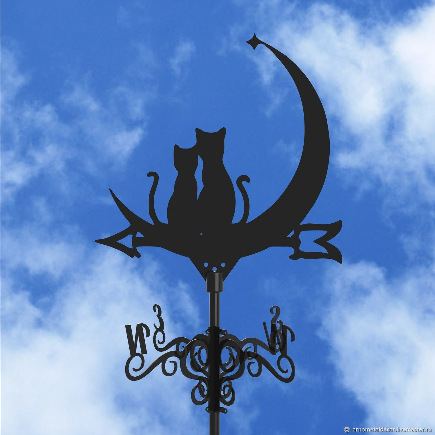Weather vane on the roof ' Cats and the Moon', Vane, Ivanovo,  Фото №1