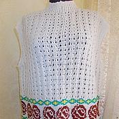 Одежда ручной работы. Ярмарка Мастеров - ручная работа Ажурная жилетка, вязание спицами, ручная вышивка, жилет, безрукавка. Handmade.