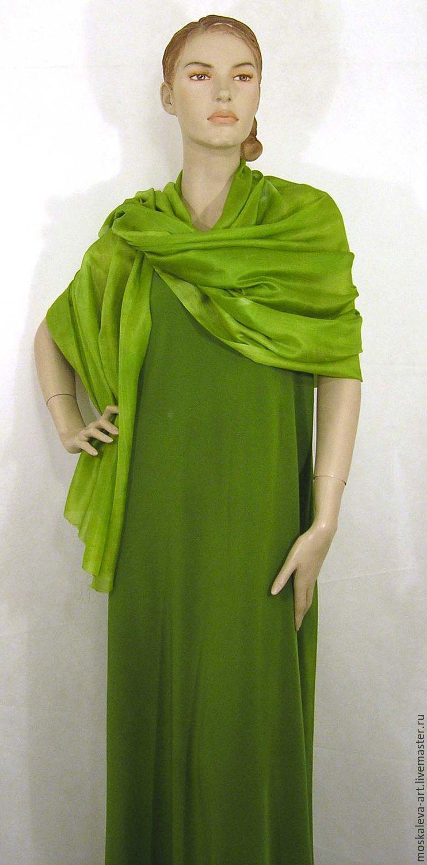 Палантин Ярко зеленый 100%шелк любой цвет размер ручная роспись, Палантины, Курск, Фото №1