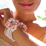 """Украшения ручной работы. Ярмарка Мастеров - ручная работа Браслет """"Букетики розовых лилий"""". Handmade."""