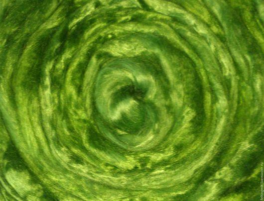 Волокна вискозы. 25 гр. Яр.зелень. Волокна для валяния. Троицкая камвольная фабрика. Троицкая вискоза. Вискоза для валяния.