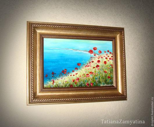 """Картины цветов ручной работы. Ярмарка Мастеров - ручная работа. Купить Пейзаж на стекле """"Маки"""" (цена без учета скидки). Handmade."""
