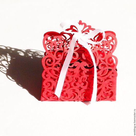 Свадебные аксессуары ручной работы. Ярмарка Мастеров - ручная работа. Купить Резная бонбоньерка. Handmade. Ярко-красный, айвори, розовый