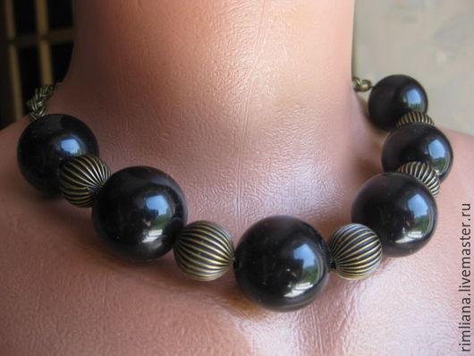 """Колье, бусы ручной работы. Ярмарка Мастеров - ручная работа. Купить Ожерелье """"Черный ангел"""""""" -крупные 24 мм черные шары. Handmade."""