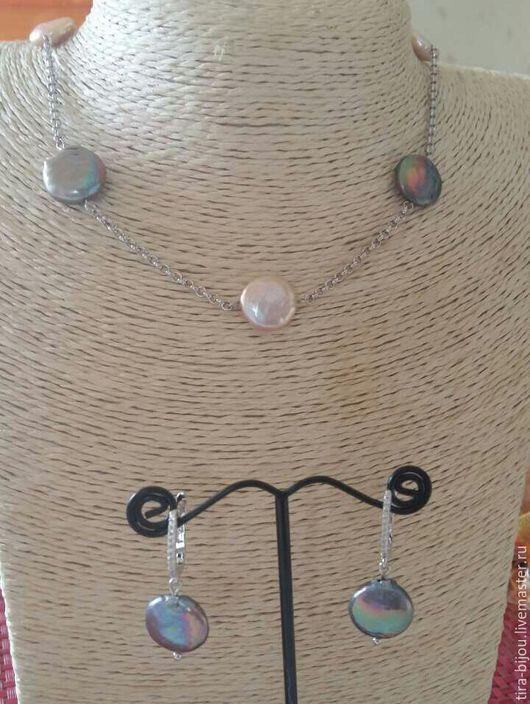 Колье, бусы ручной работы. Ярмарка Мастеров - ручная работа. Купить Ожерелье жемчуг. Handmade. Серый, ожерелье, родированная латунь