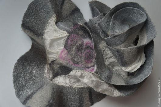Шарфы и шарфики ручной работы. Ярмарка Мастеров - ручная работа. Купить Серебристо-серый валяный шарф Пепельные розы. Нуновойлок.. Handmade.