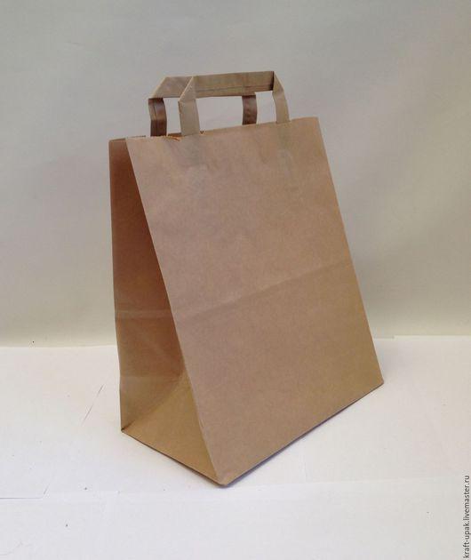 Упаковка ручной работы. Ярмарка Мастеров - ручная работа. Купить Крафтпакет 24х14х28 с плоскими ручками. Handmade. Натуральный, крафт пакет