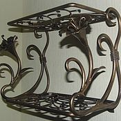 Для дома и интерьера handmade. Livemaster - original item Wrought iron wall shelf with flowers. Handmade.
