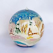 Подарки к праздникам handmade. Livemaster - original item Christmas ball-a stash of wood with the author. painted. Russian winter. 8 cm.. Handmade.