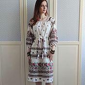 Одежда handmade. Livemaster - original item Dress linen Russian Slavic kudesnitsa MIDI. Handmade.