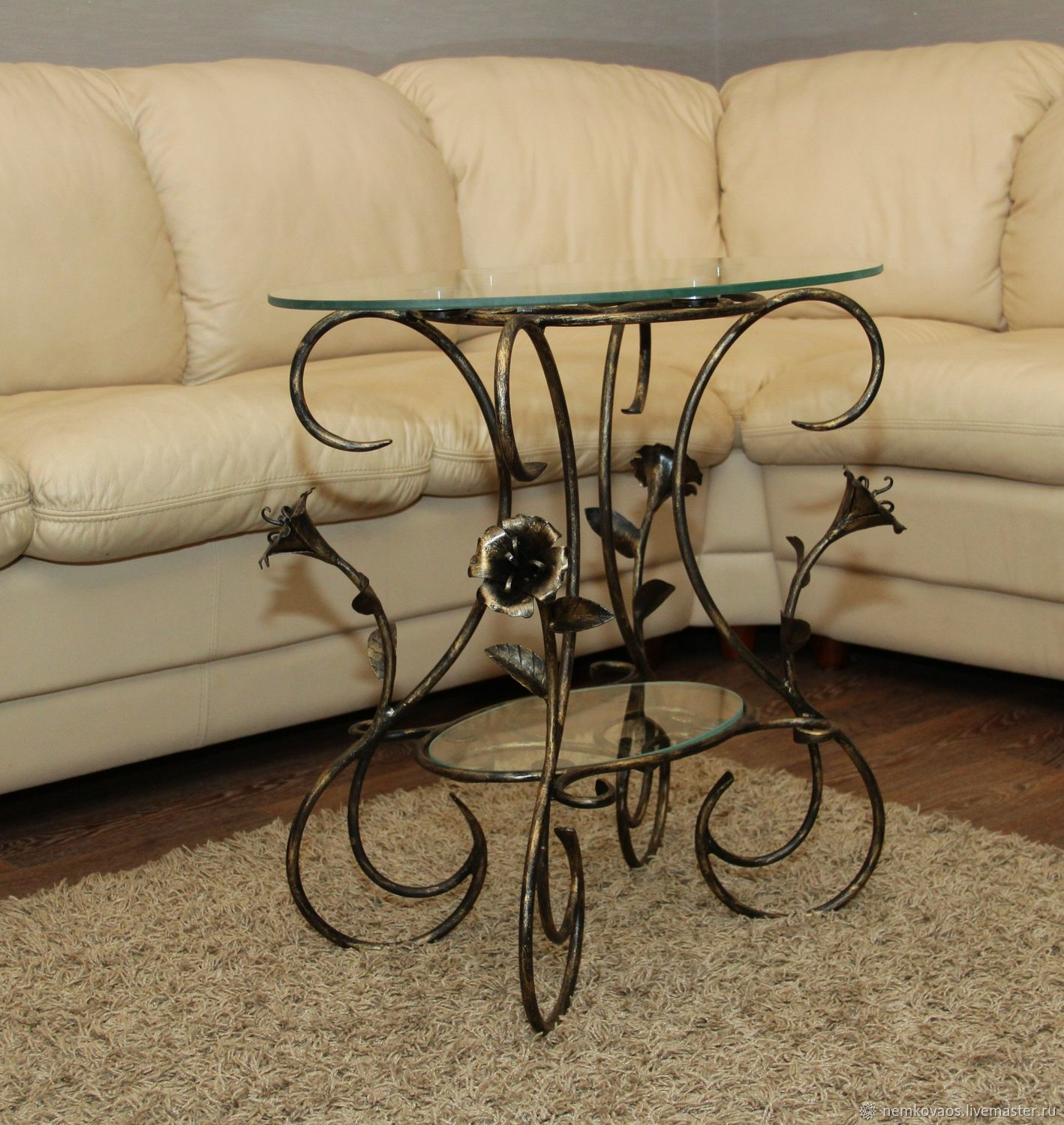 Wrought Iron Coffee Table (double Glass). Artistic Forging Nemkova.
