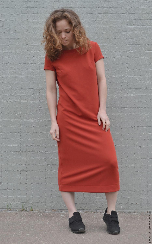 Платья ручной работы. Ярмарка Мастеров - ручная работа. Купить Платье миди из трикотажа ТЕРРАКОТ. Handmade. Платье, терракот, однотонный