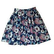 Одежда handmade. Livemaster - original item Denim skirt pleated floral print. Handmade.