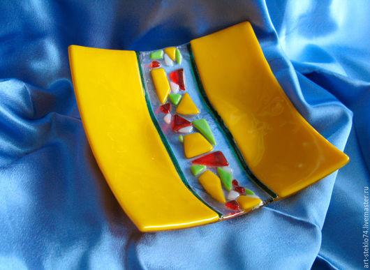 Тарелки ручной работы. Ярмарка Мастеров - ручная работа. Купить Фьюзинг,  Тарелка «Жёлтое настроение». Handmade. Фьюзинг, фьюзинг